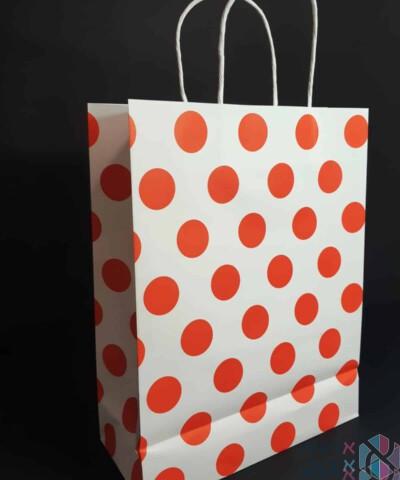 שקיות נייר עם ידית מגולגלת - לבן עם נקודות אדומות