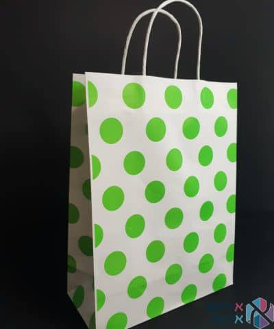 שקיות נייר עם ידית מגולגלת - לבן עם נקודות ירוקות