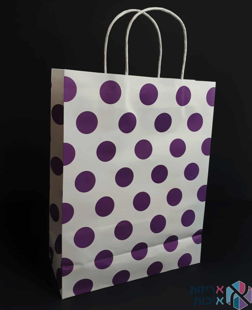 שקיות נייר עם ידית מגולגלת - לבן עם נקודות סגולות