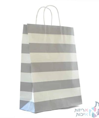 שקיות נייר עם ידית מגולגלת - פסים אפור ולבן