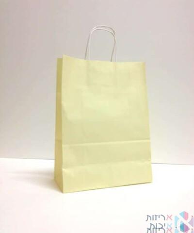 שקיות נייר עם ידית מגולגלת - שמנת