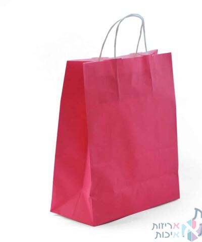 שקיות נייר עם ידית מגולגלת - ורוד פוקסיה