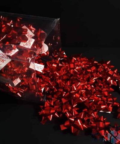 פרח מדבקה אדום מטאלי