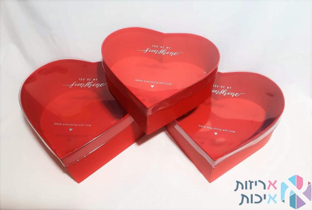 סט שלישיית לבבות בצבע אדום