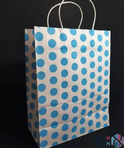 שקיות נייר עם ידית מגולגלת - לבן עם נקודות תכלת