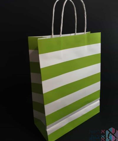 שקיות נייר עם ידית מגולגלת - פסים ירוק בהיר ולבן