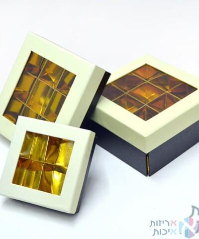 קופסאות קרטון לפרלינים עם חלון