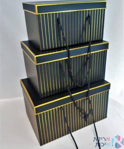 סט שלישיית שקיות תיק יוקרתיות עם ידית חבל - שחור