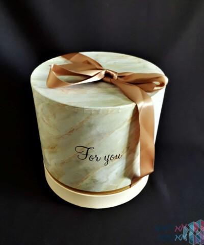 קופסאות עגולות יוקרתיות לפרחים - דגם שיש