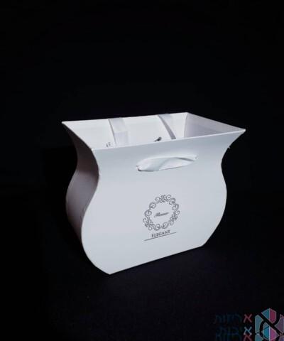 קופסאות לפרחים - אגרטל קטן עם ידיות סאטן בצבע לבן