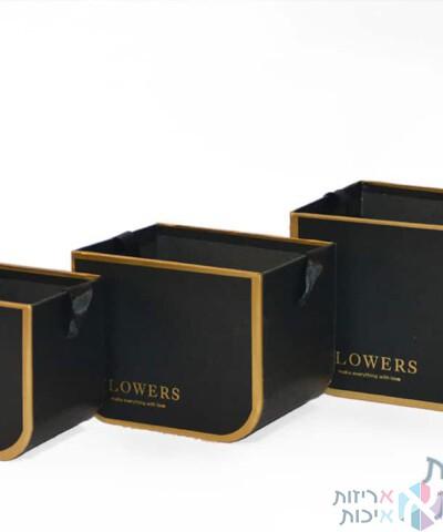 קופסאות לפרחים - סט שלישיית קופסאות עם ידית סאטן בצבע שחור