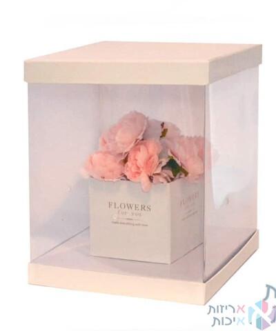 קופסאות לפרחים - קופסאות מרובעות עם PVC שקוף איכותי ובמה בצבע לבן