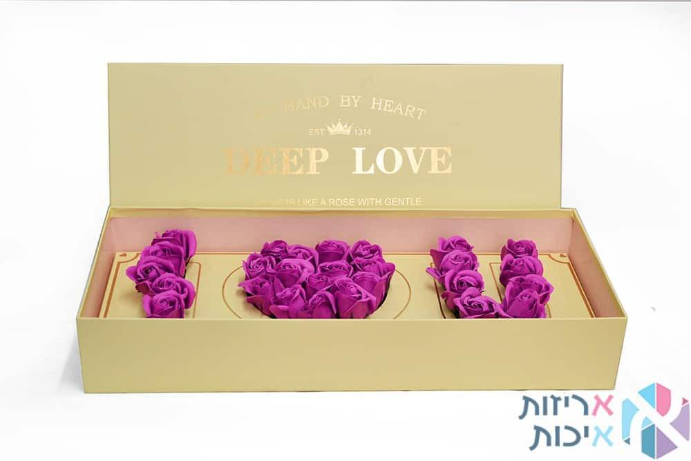 קופסאות לפרחים - I LOVE U שמנת