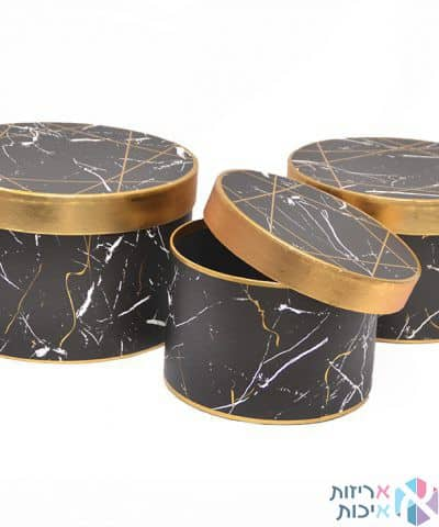 קופסאות לפרחים - סט שלישייה עגול שייש שחור זהב (2)