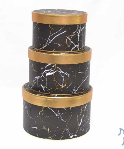 קופסאות לפרחים - סט שלישייה עגול שייש שחור זהב