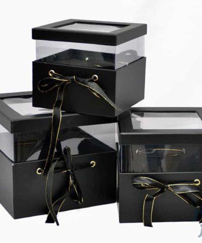 קופסאות לפרחים - סט שלישייה ריבוע עם חלון בצבע שחור (2)