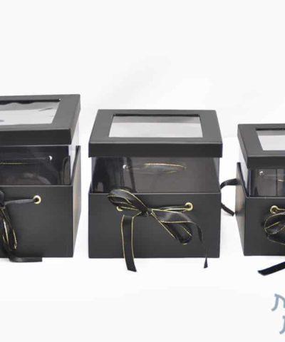 קופסאות לפרחים - סט שלישייה ריבוע עם חלון בצבע שחור
