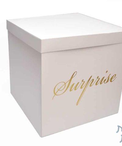 קופסאות לפרחים - קופסא הפתעה מתפוצצת בצבע לבן