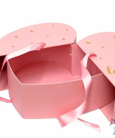 קופסאות לפרחים - קופסת לב נפתחת לשתיים