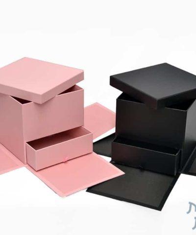 קופסאות לפרחים- קופסת ריבוע מתפוצצת עם מגירה