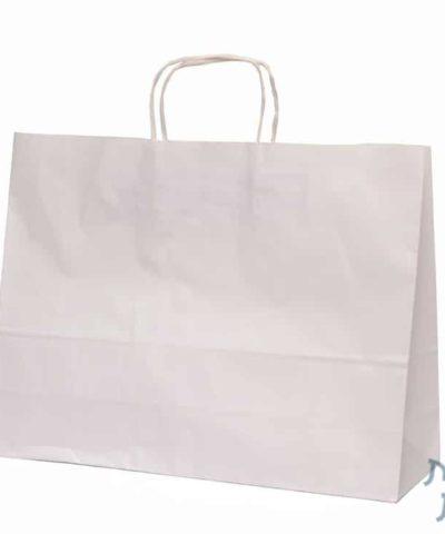 שקיות נייר עם ידית מגולגלת – לבן (שקית רחבה הפוכה)