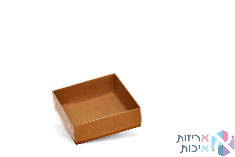 קופסאות קרטון עם מכסה שקוף במידה 15155 - דגם טבעי