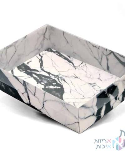 קופסאות קרטון עם מכסה שקוף 25358 - דגם שיש לבן