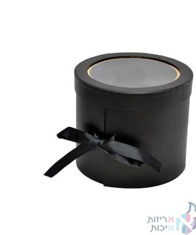 קופסאות לפרחים - קופסאות עגולות 2 קומות עם מכסה פיויסי שחור