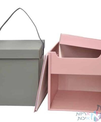 קופסאות לפרחים - קופסת ריבוע מהודרת עם חוצץ וידית מנשא